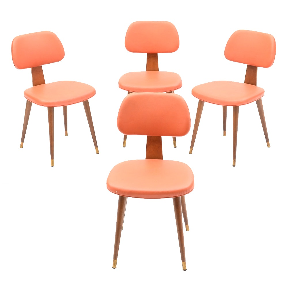 Mid Century Modern Orange Upholstered Side Chairs