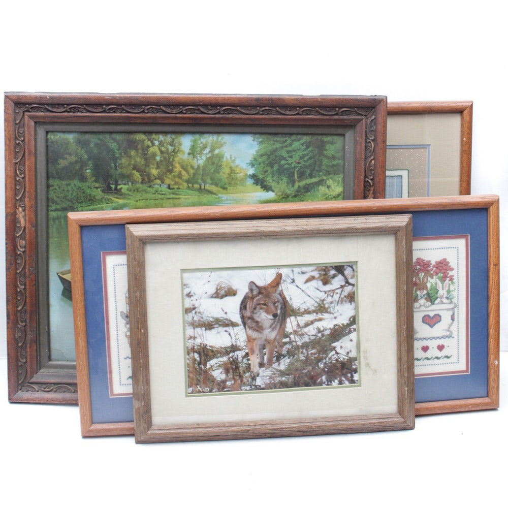 Framed Needlepoints and Prints
