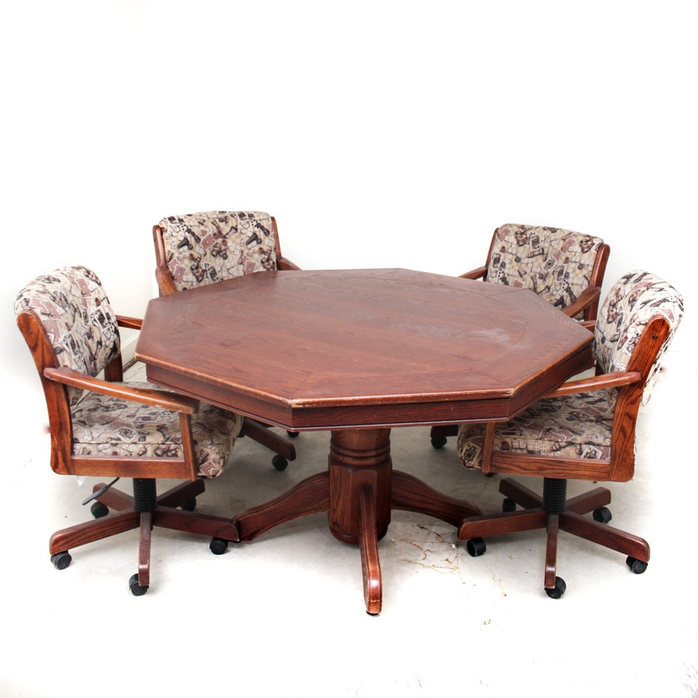 California House Oak Game Table and Upholstered Chairs