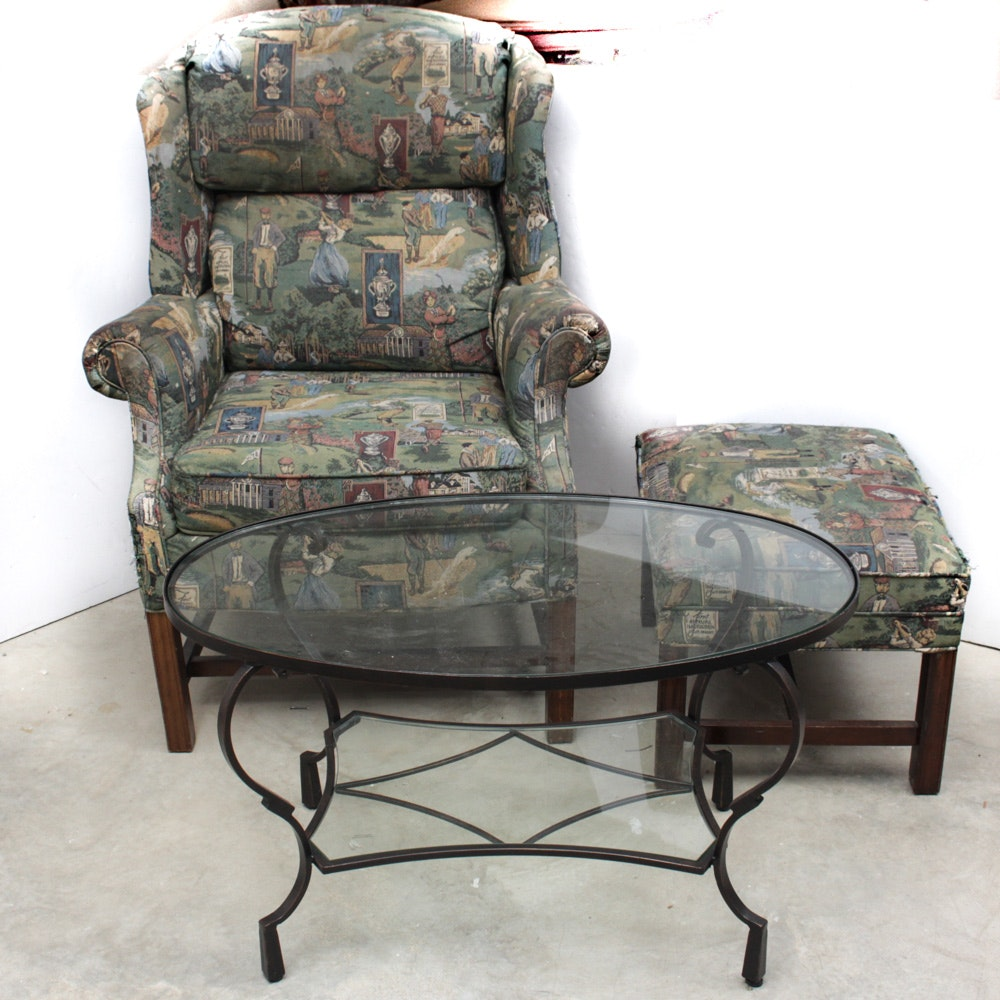 Golf Themed Wingback Chair and Matching Ottoman with Accent Table