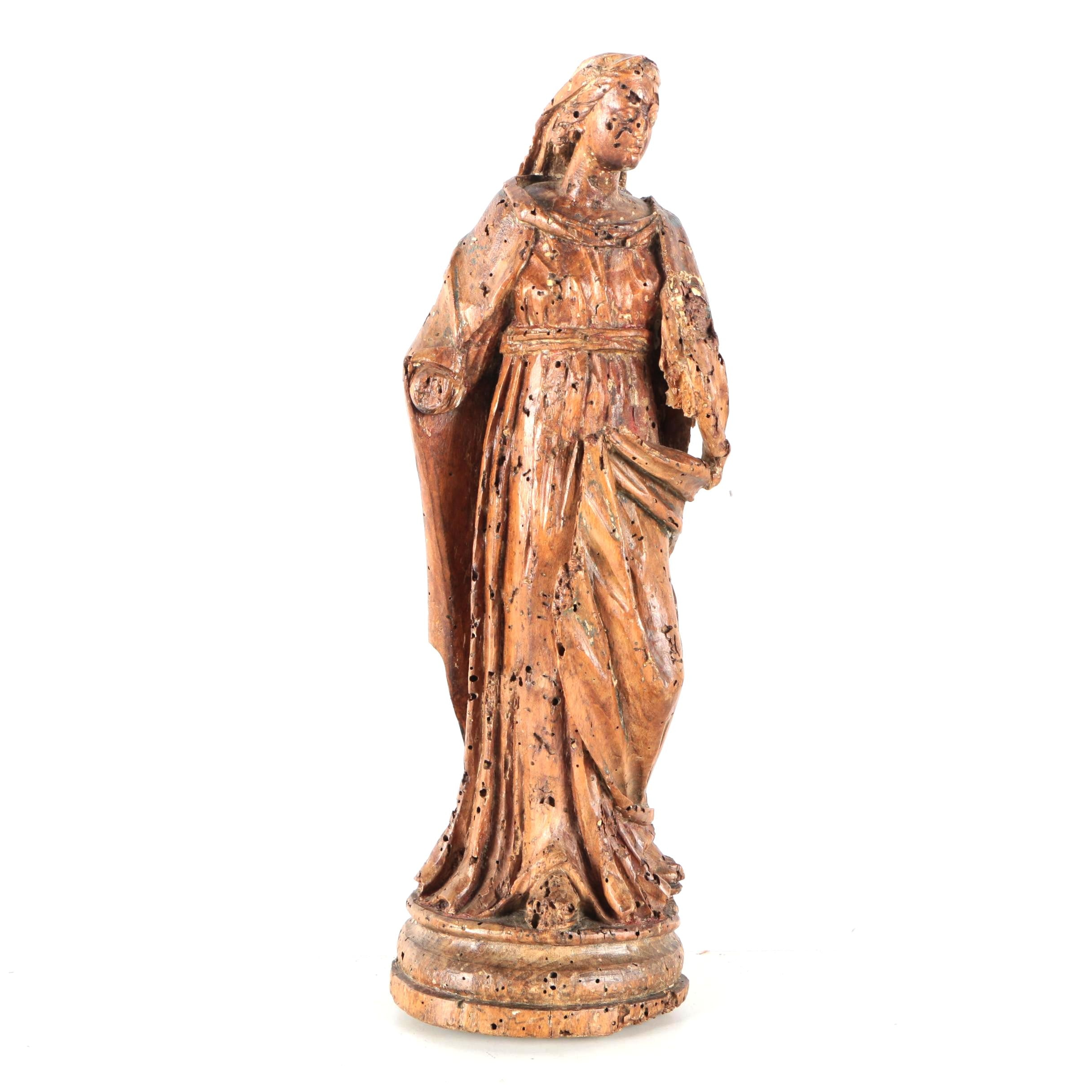 Carved Wooden Figurine of Mary