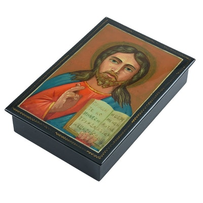 Late 20th Century Russian Palekh Lacquered Box of Jesus Christ