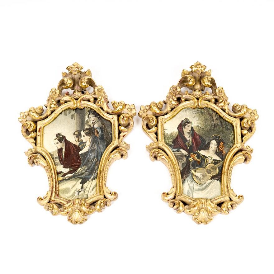 Pair of Spanish Giclee Prints in Ornate Gold Frames : EBTH