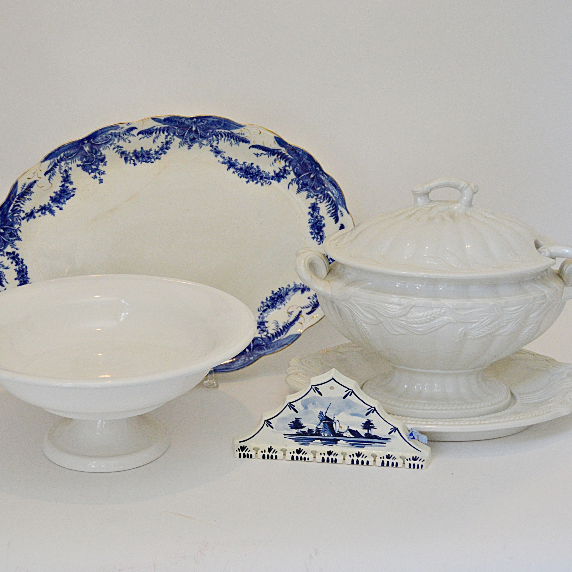 Antique Porcelain Platter and Tureen, White Compote