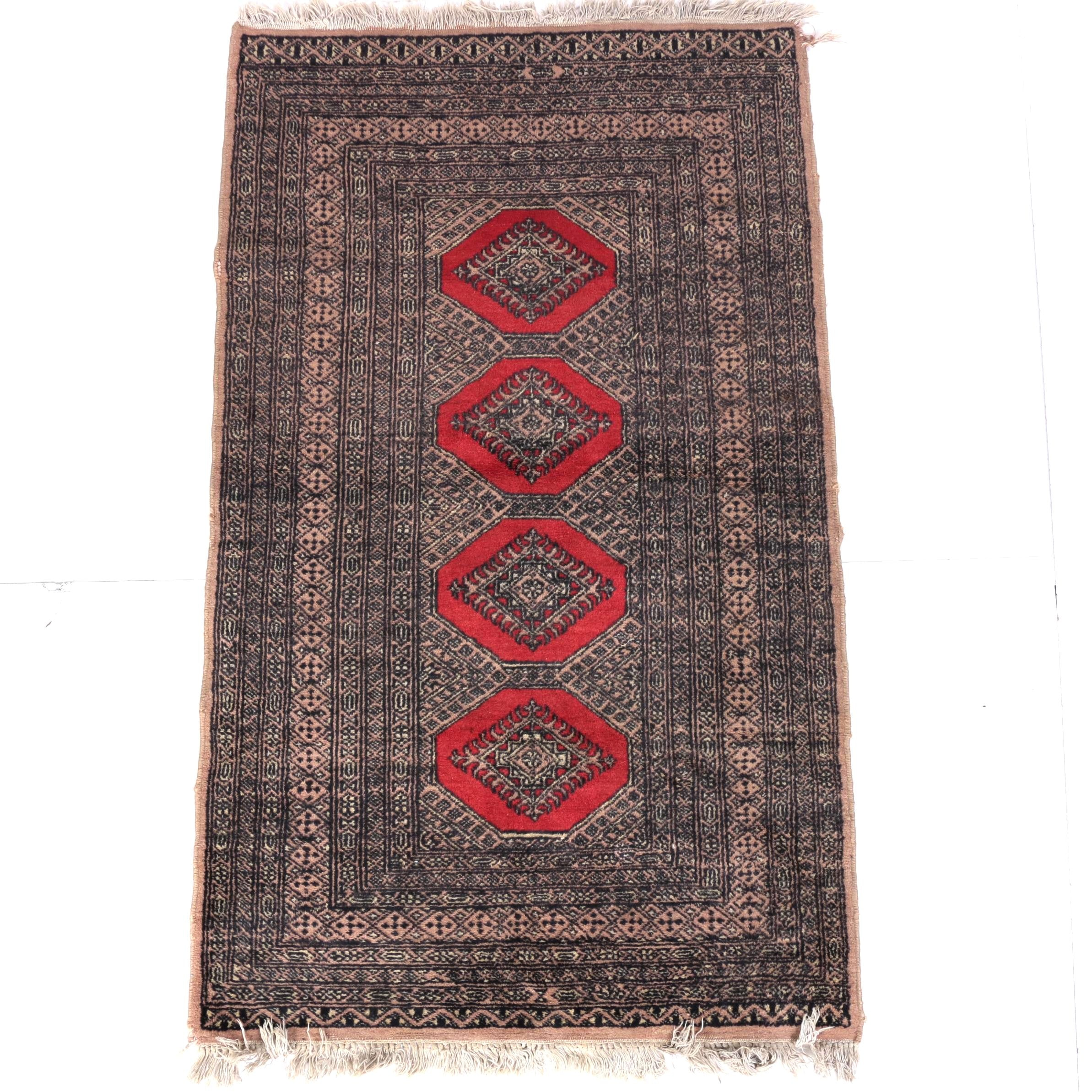 Hand-Knotted Bokhara Turkmen Accent Rug