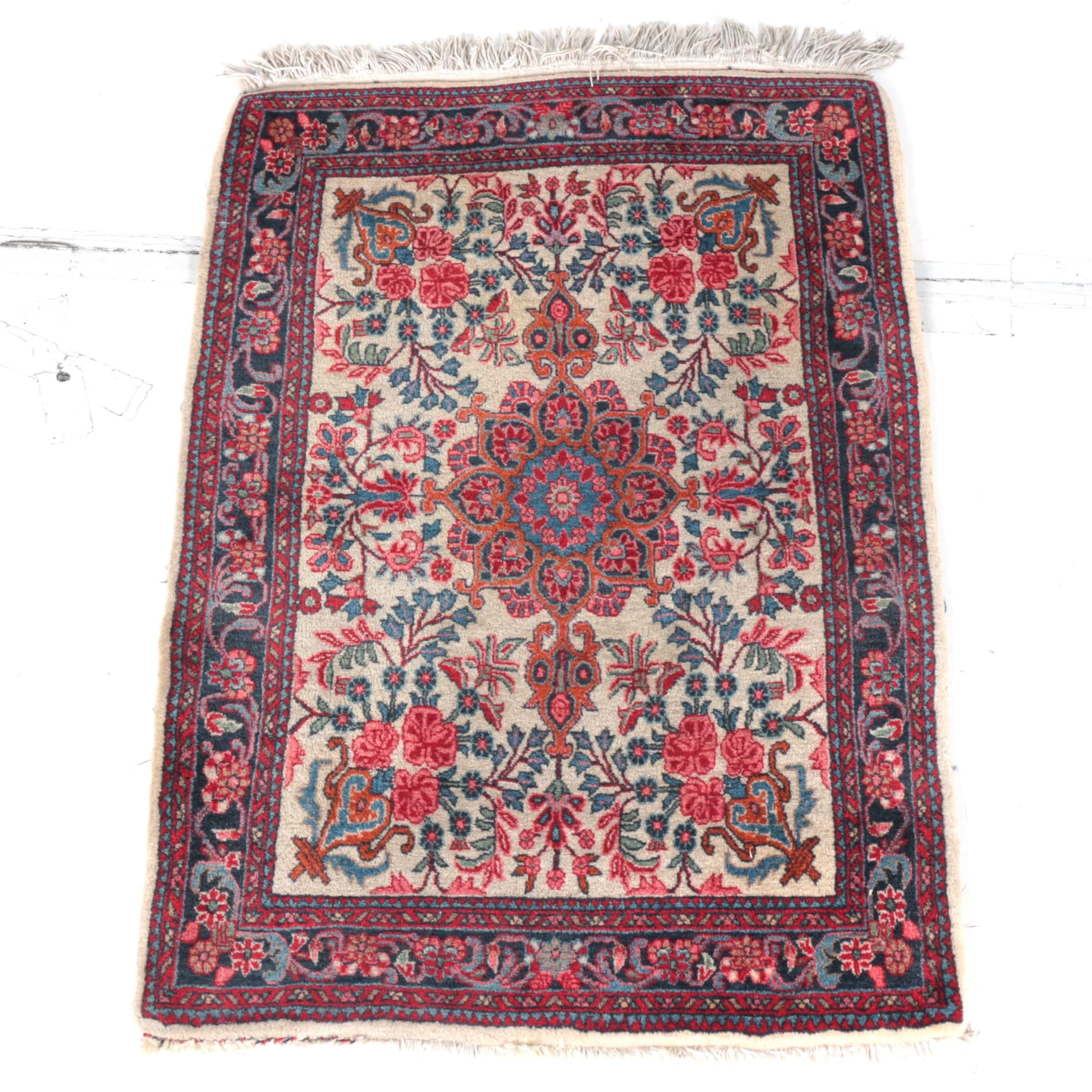 Hand-Knotted Kerman Accent Rug
