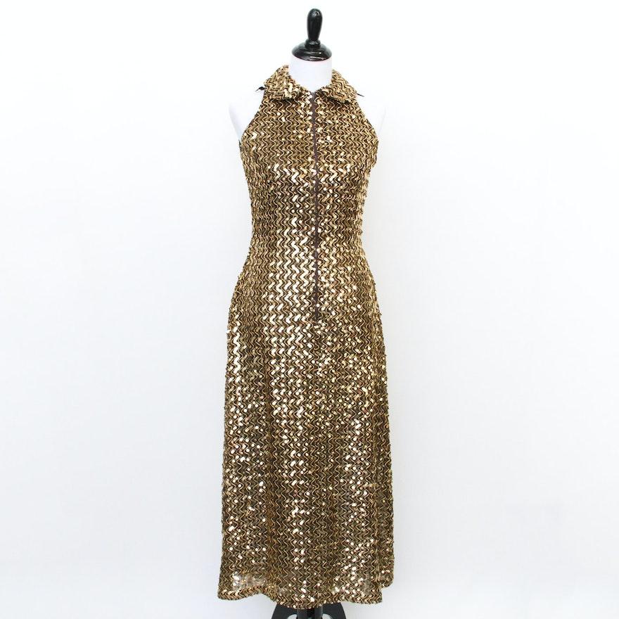 Vintage Lillie Rubin Gold Sequin Dress : EBTH