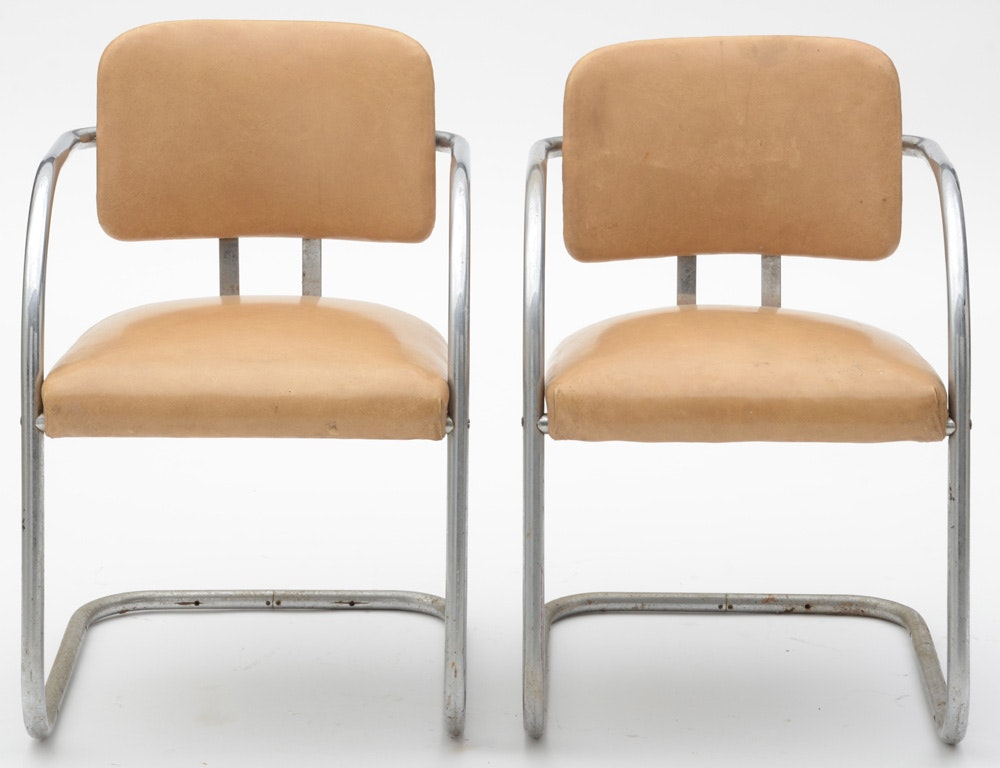 Pair of Cantilevered Chrome Arm Chairs