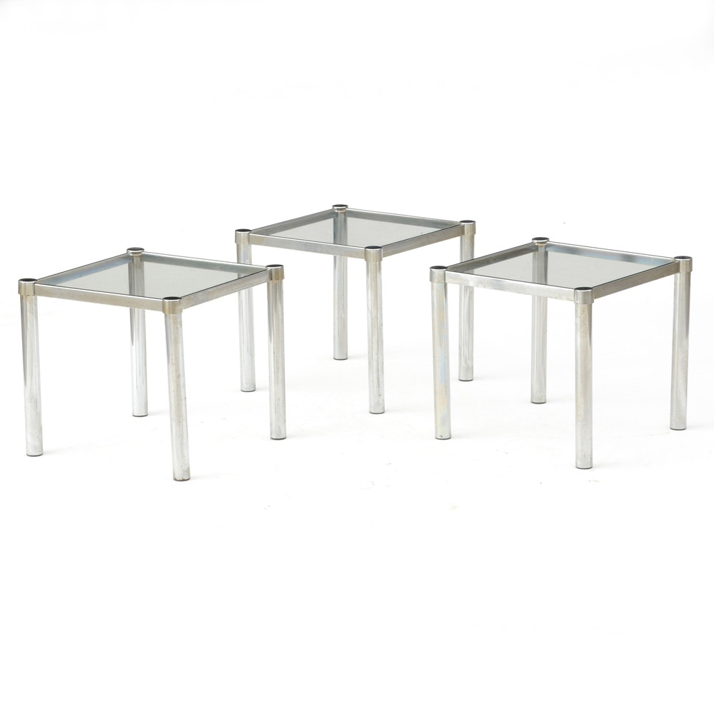 Vintage Chrome and Glass Stacking Nesting Tables