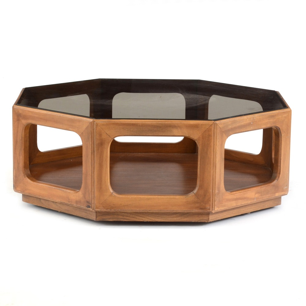 Octagonal Glass Top Coffee Table