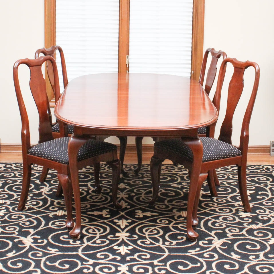 Great Queen Anne Style Cherry Dining Set By Knob Creek ...