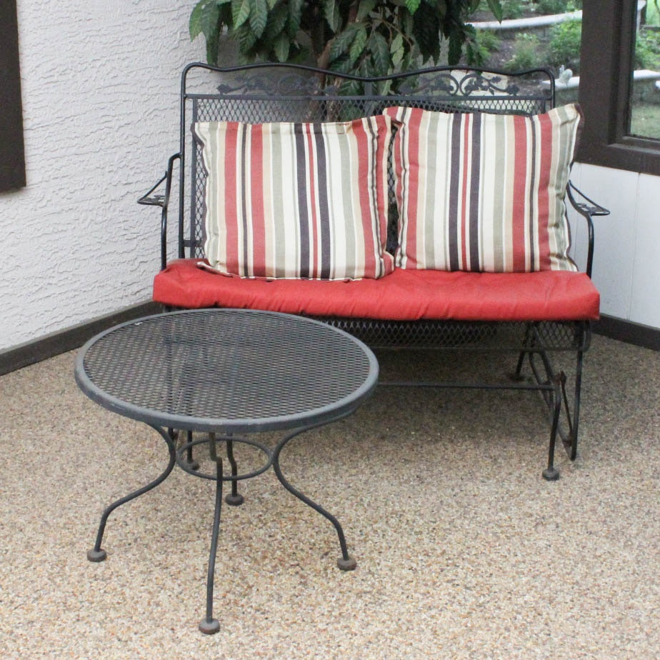 Wrought Iron Patio Glider And Table ...