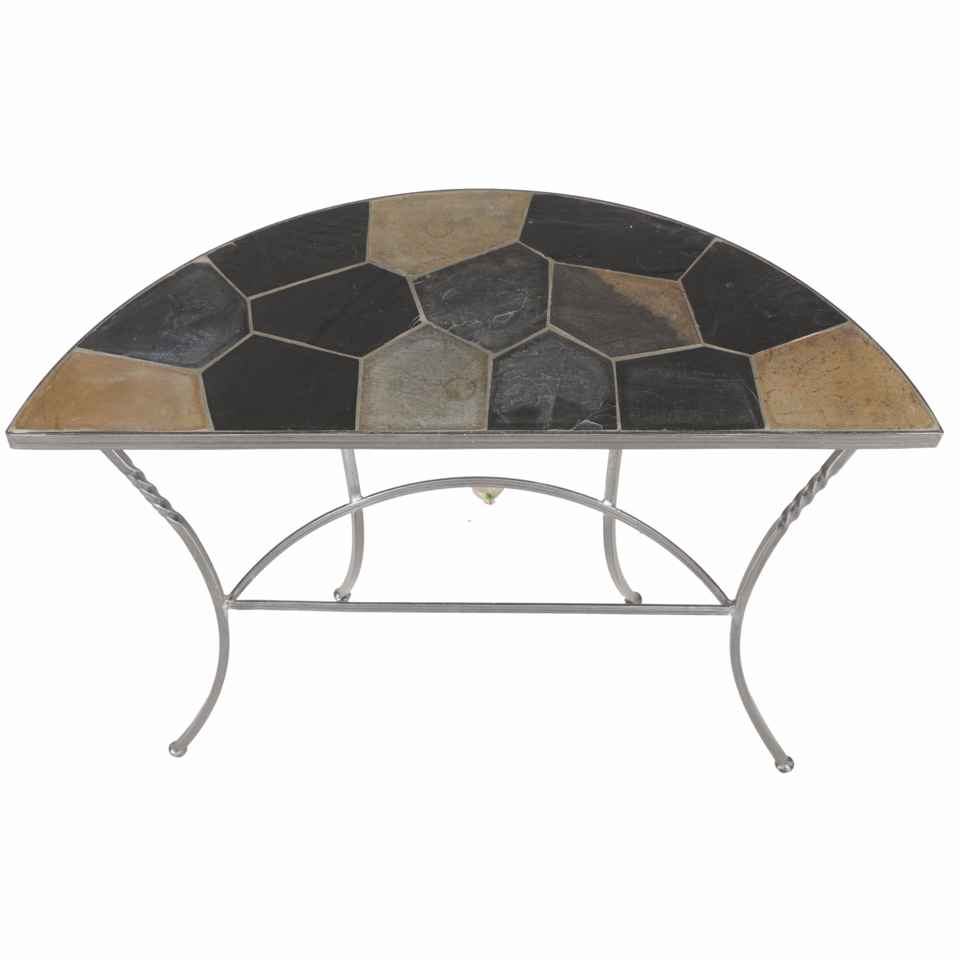 Metal Demilune Entry Table With Tile Top