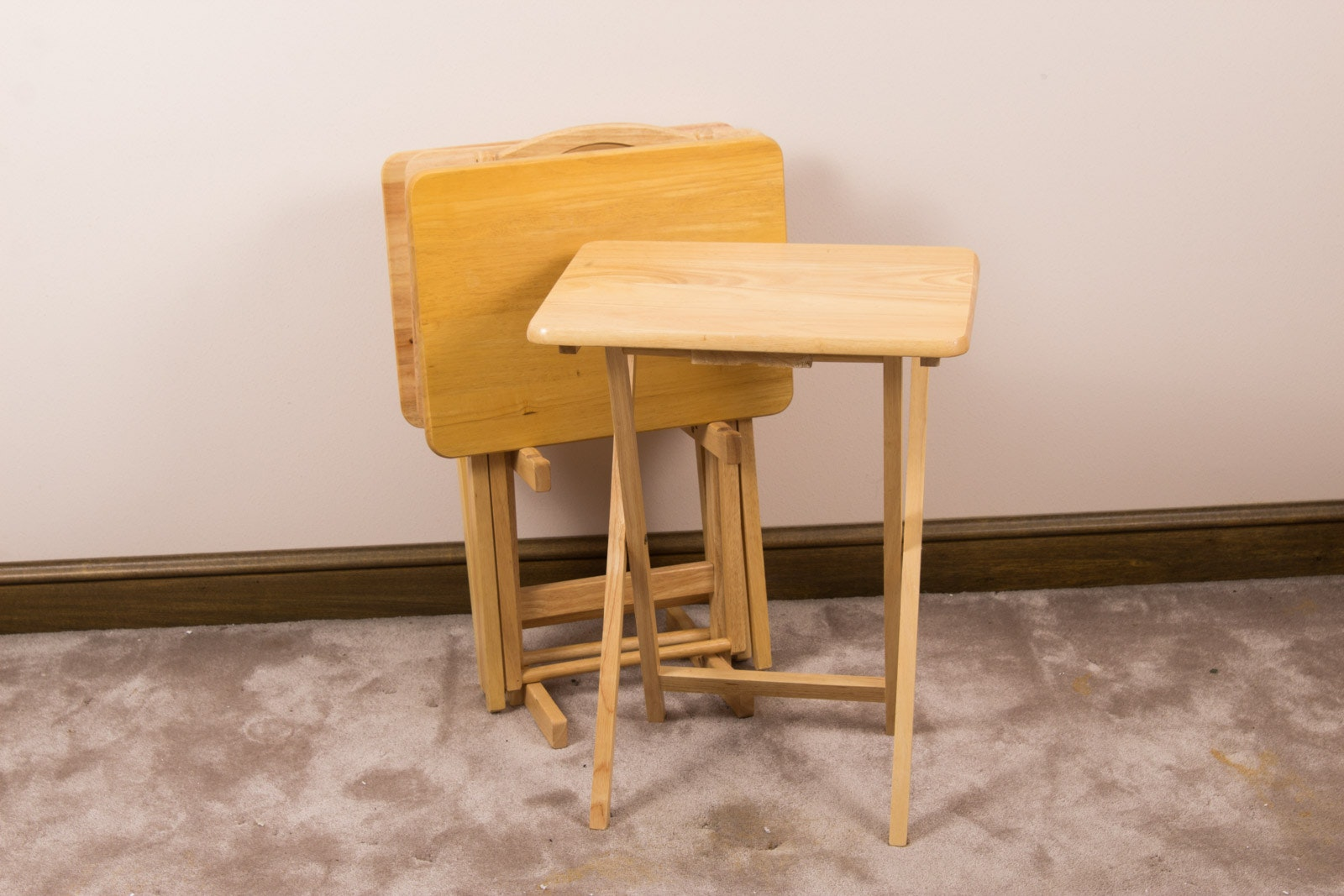 Folding Wooden TV Trays with Stand