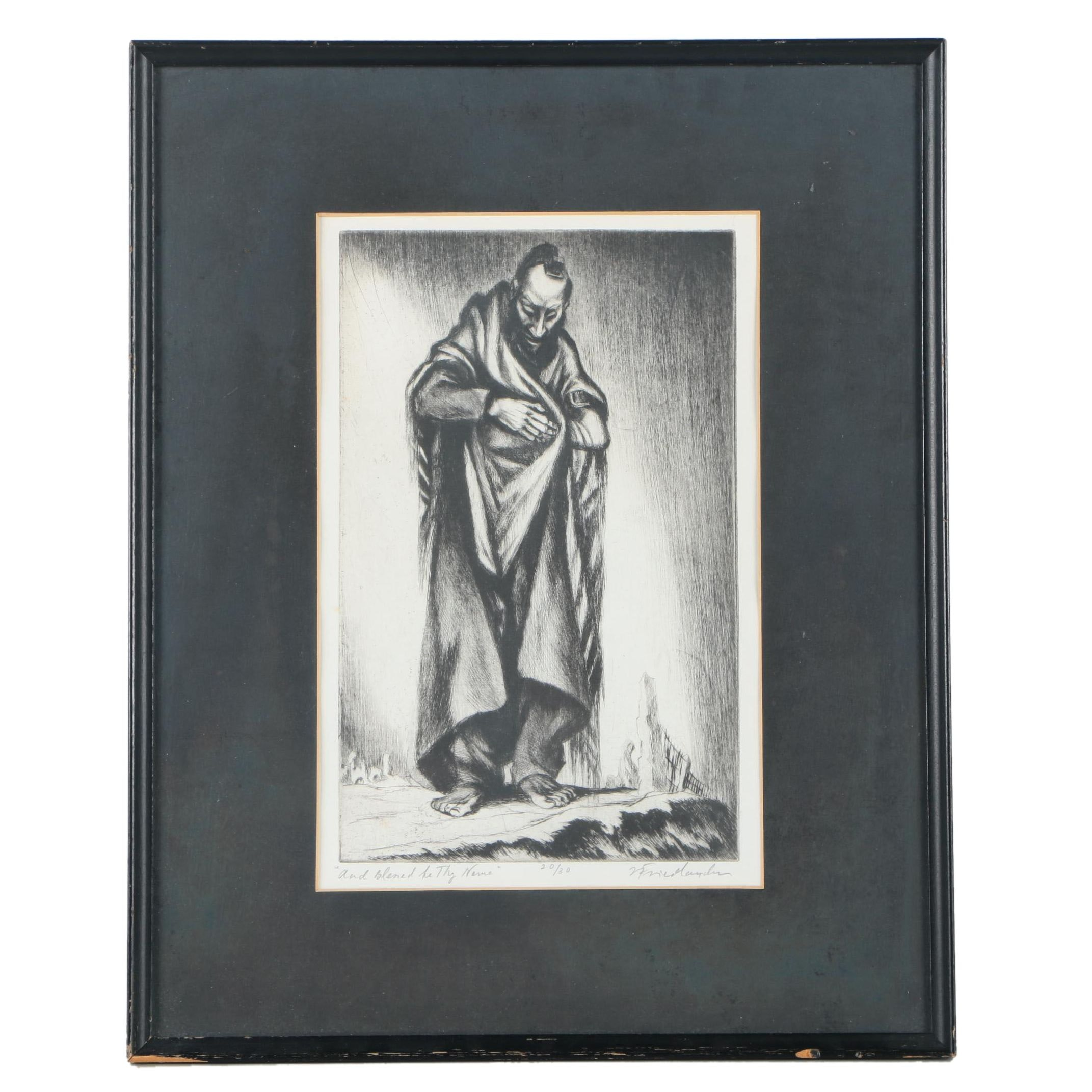 """Isaac Friedlander Limited Edition Drypoint Etching """"And Blessed Be Thy Name"""""""