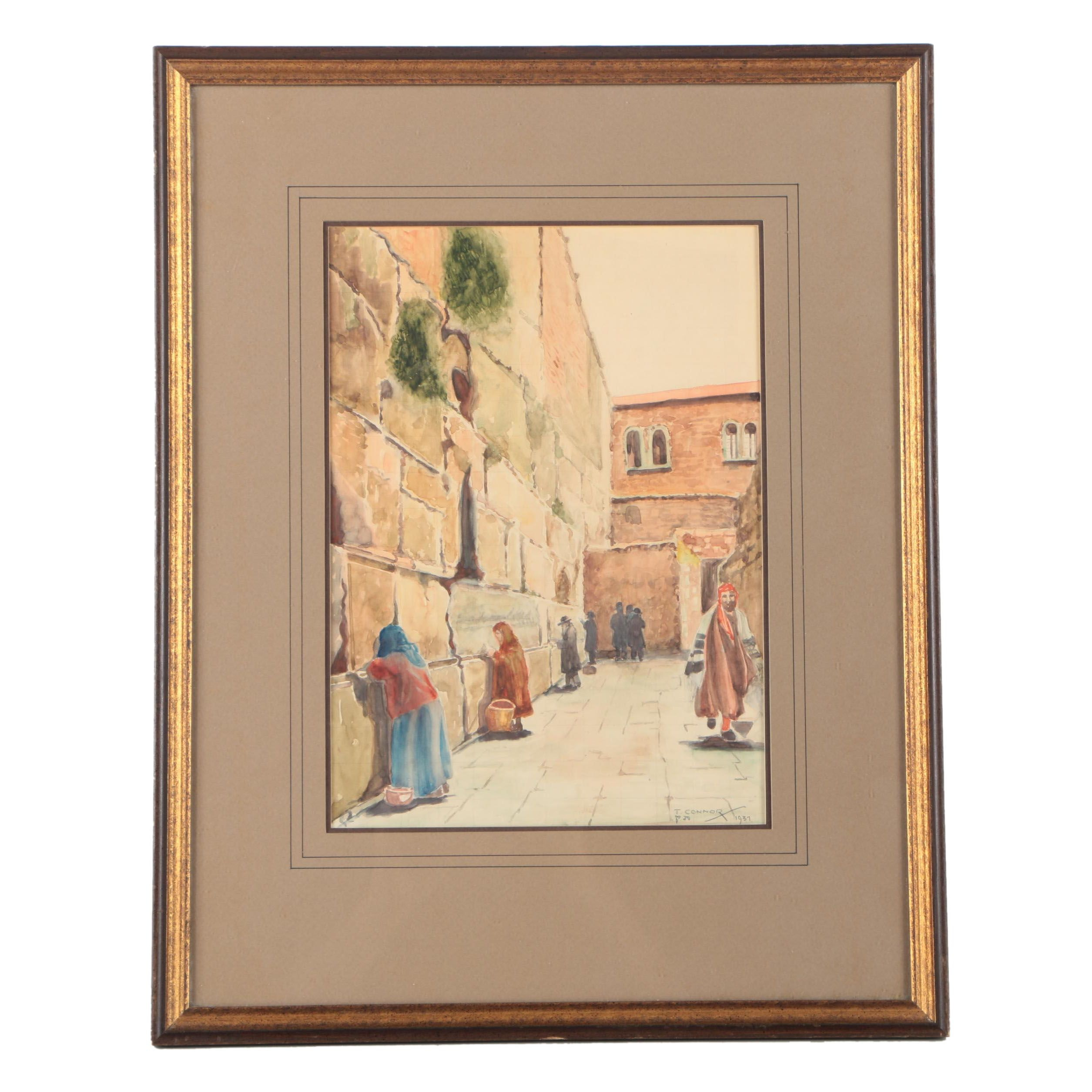 T. Connor Watercolor on Paper of a Street and Wall