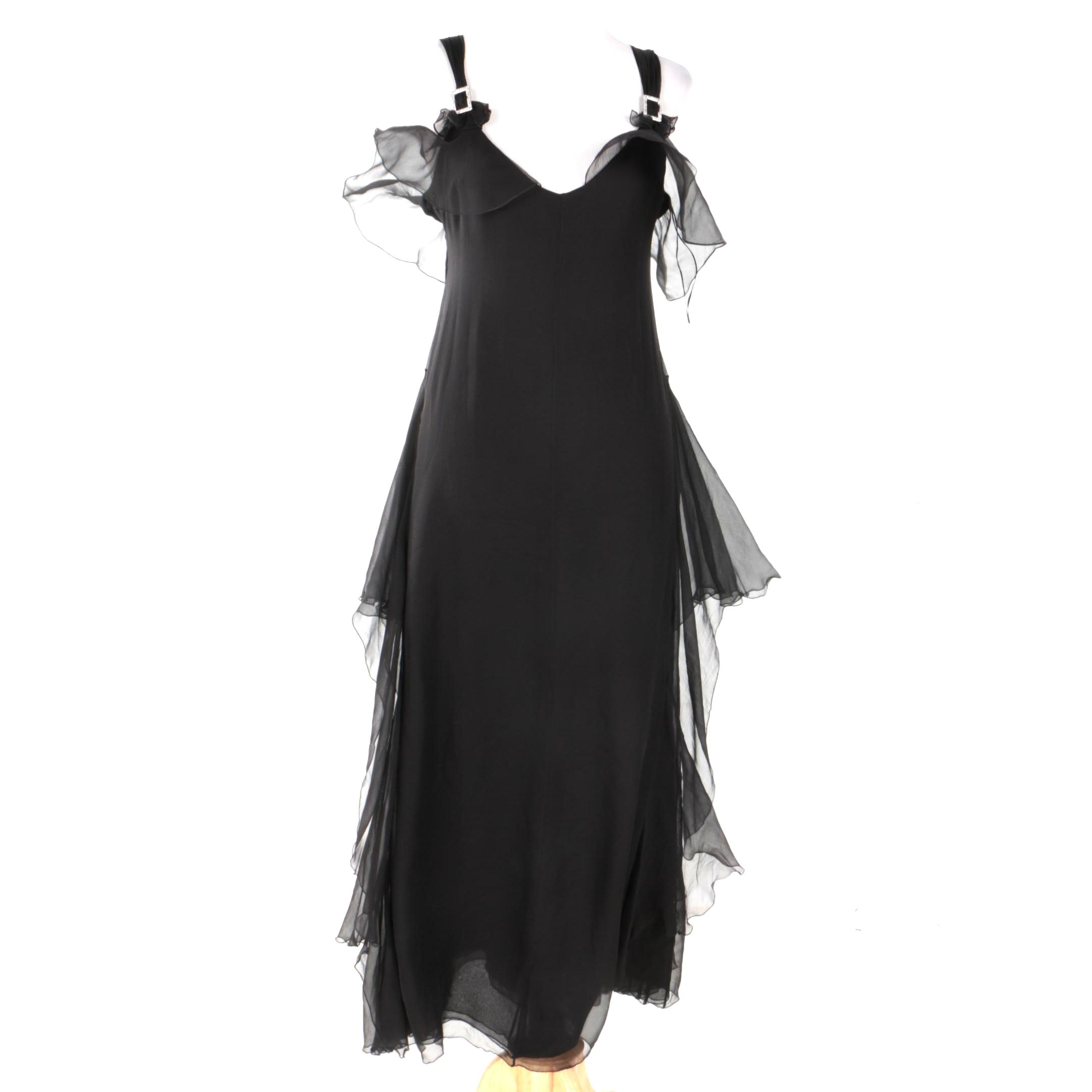 Valentino Black Silk Evening Dress