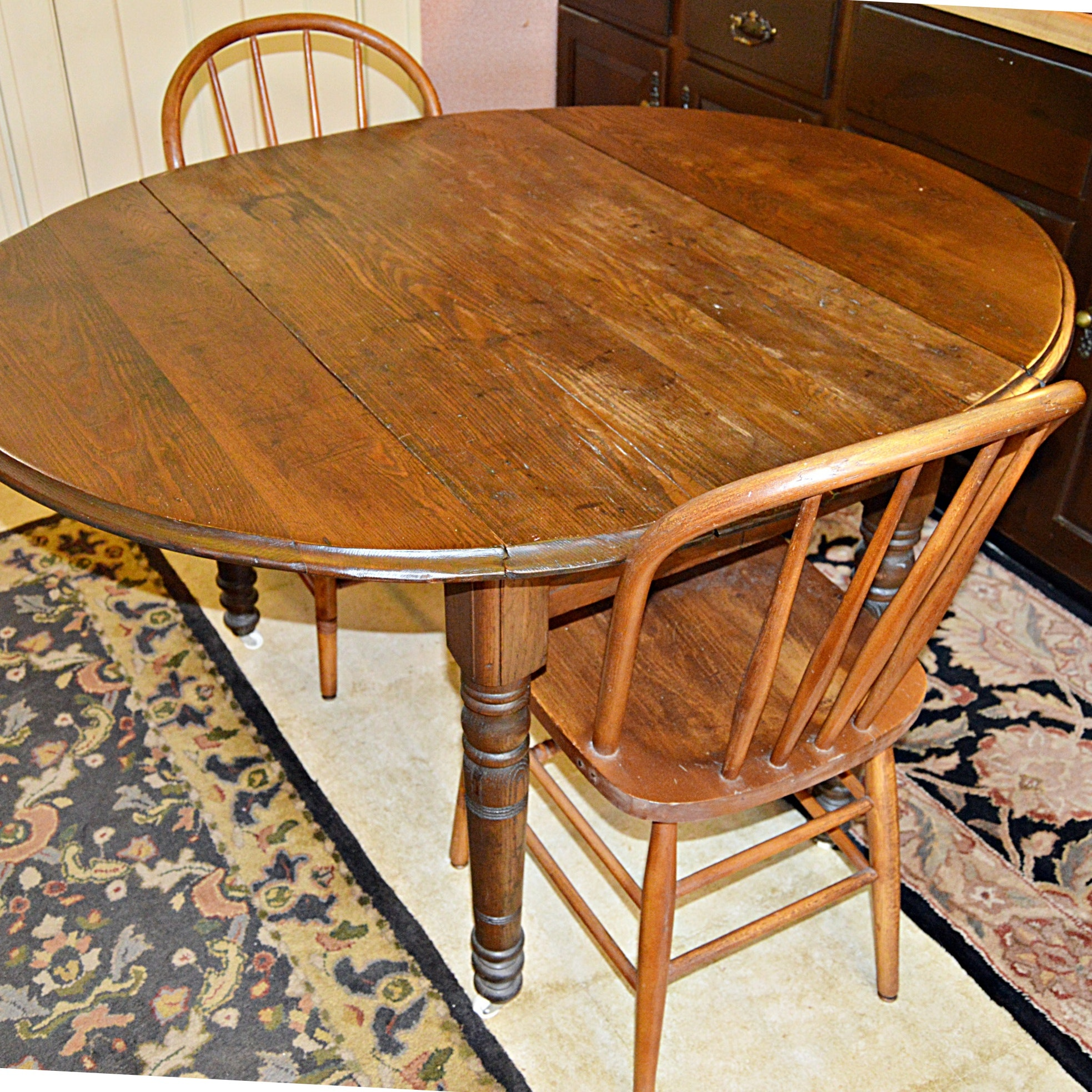 Antique Pine Table and Two Windsor Chairs