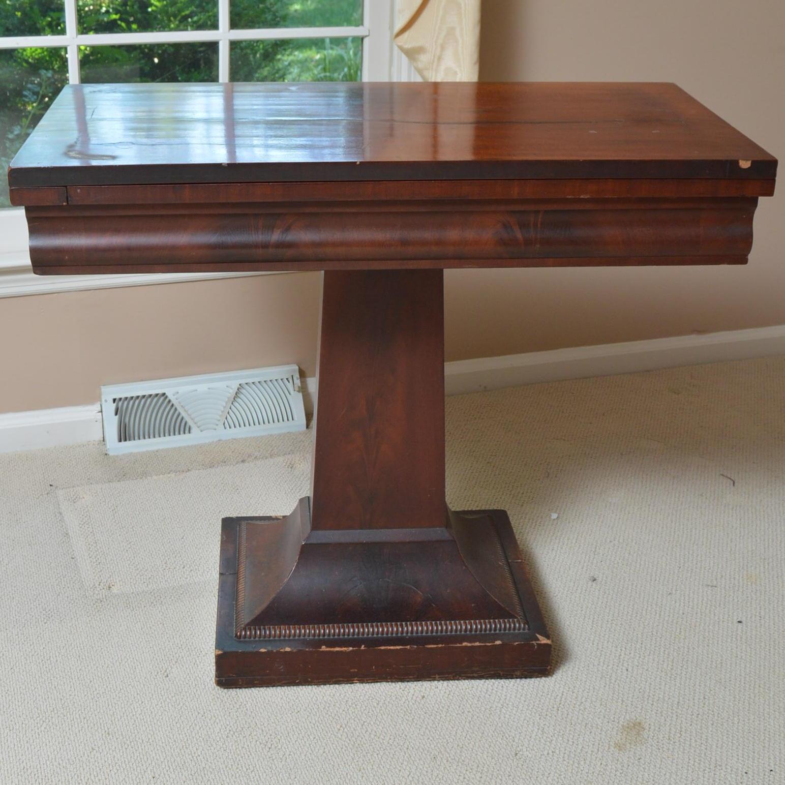 Antique American Empire Mahogany Game Table