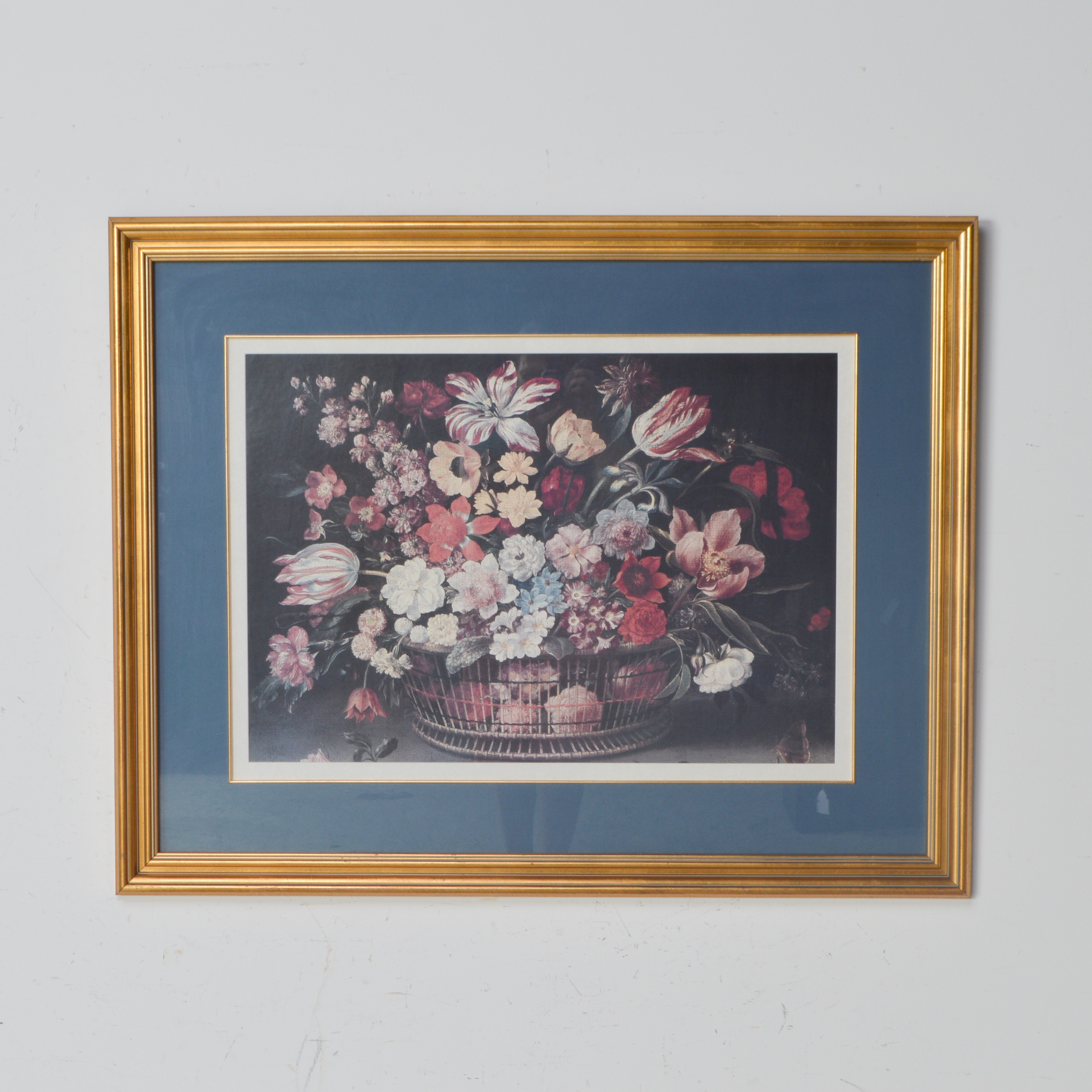 Framed Offset Lithograph of Flowers in a Wire Basket