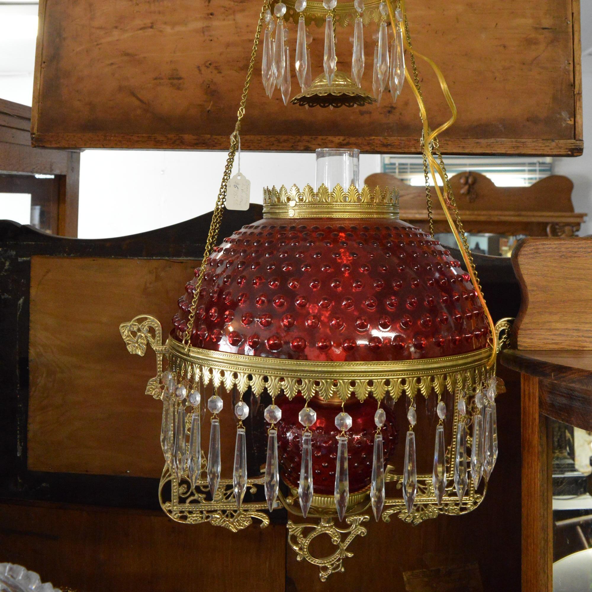 Hobnail Cranberry Glass Converted Oil Pendant