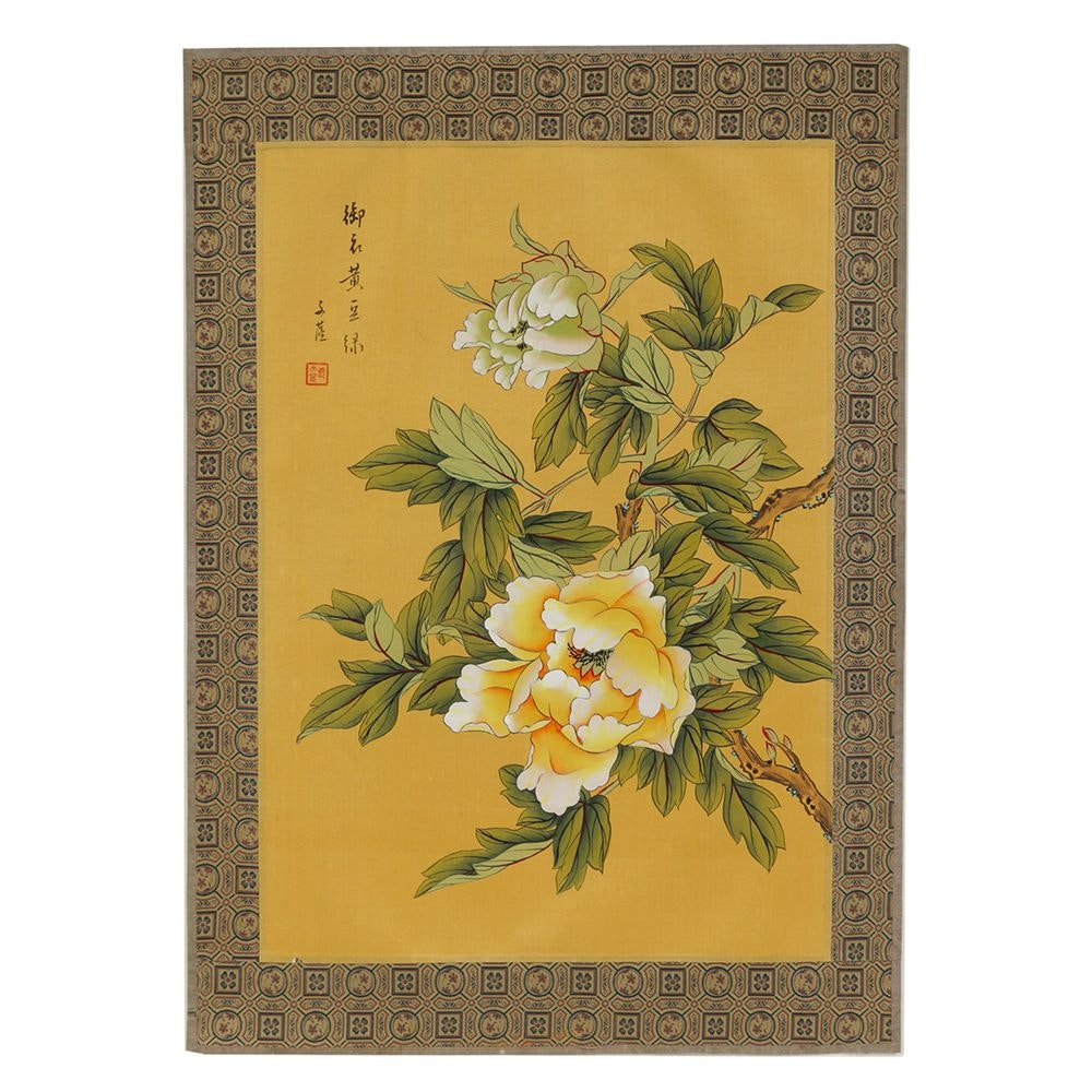 Chinese Gouache Painting on Silk of Peony