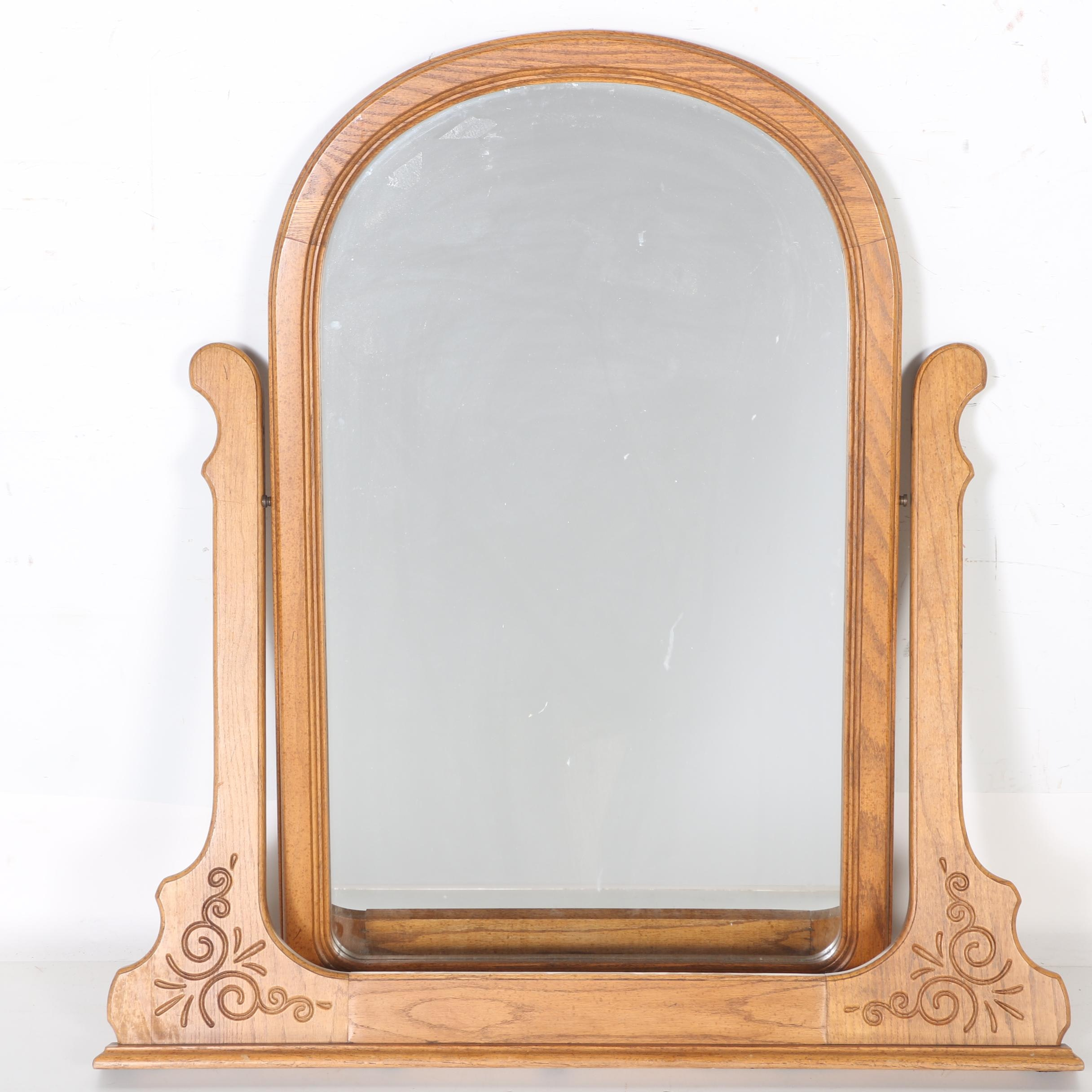 Wood Frame Oval Mirror With Stand