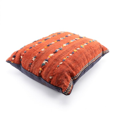 Handwoven and Embroidered Red Wool Pillow