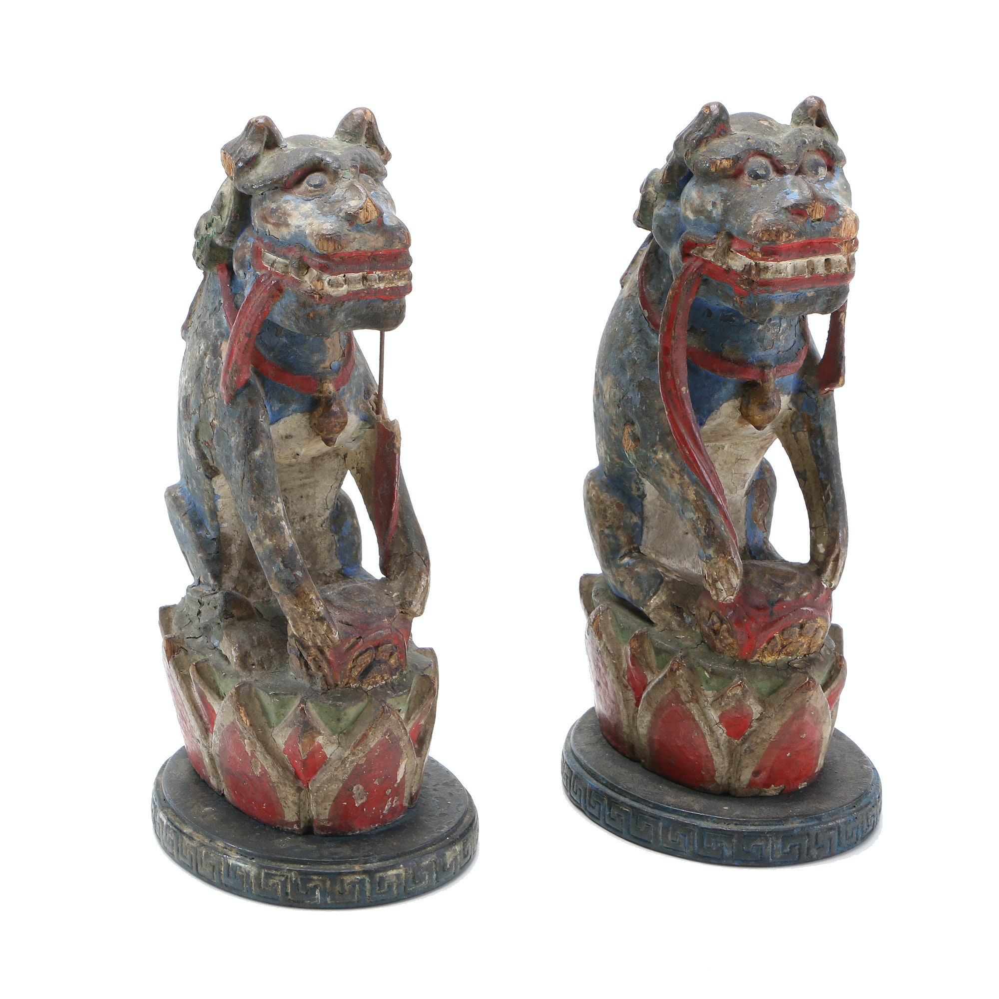 Wooden Chinese-Style Guardian Lions