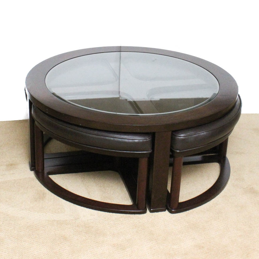 Contemporary Coffee Table With Pull Out Leather Seats Ebth