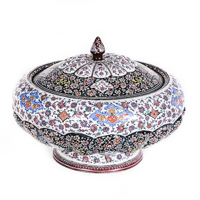 Hand-Painted Enamel Bowl with Lid
