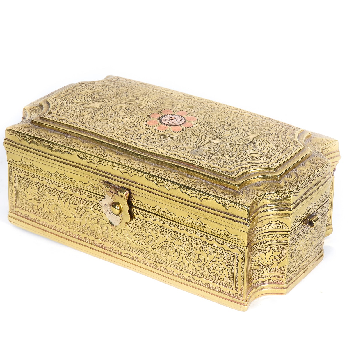 Antique Brass and Cooper Trinket Box