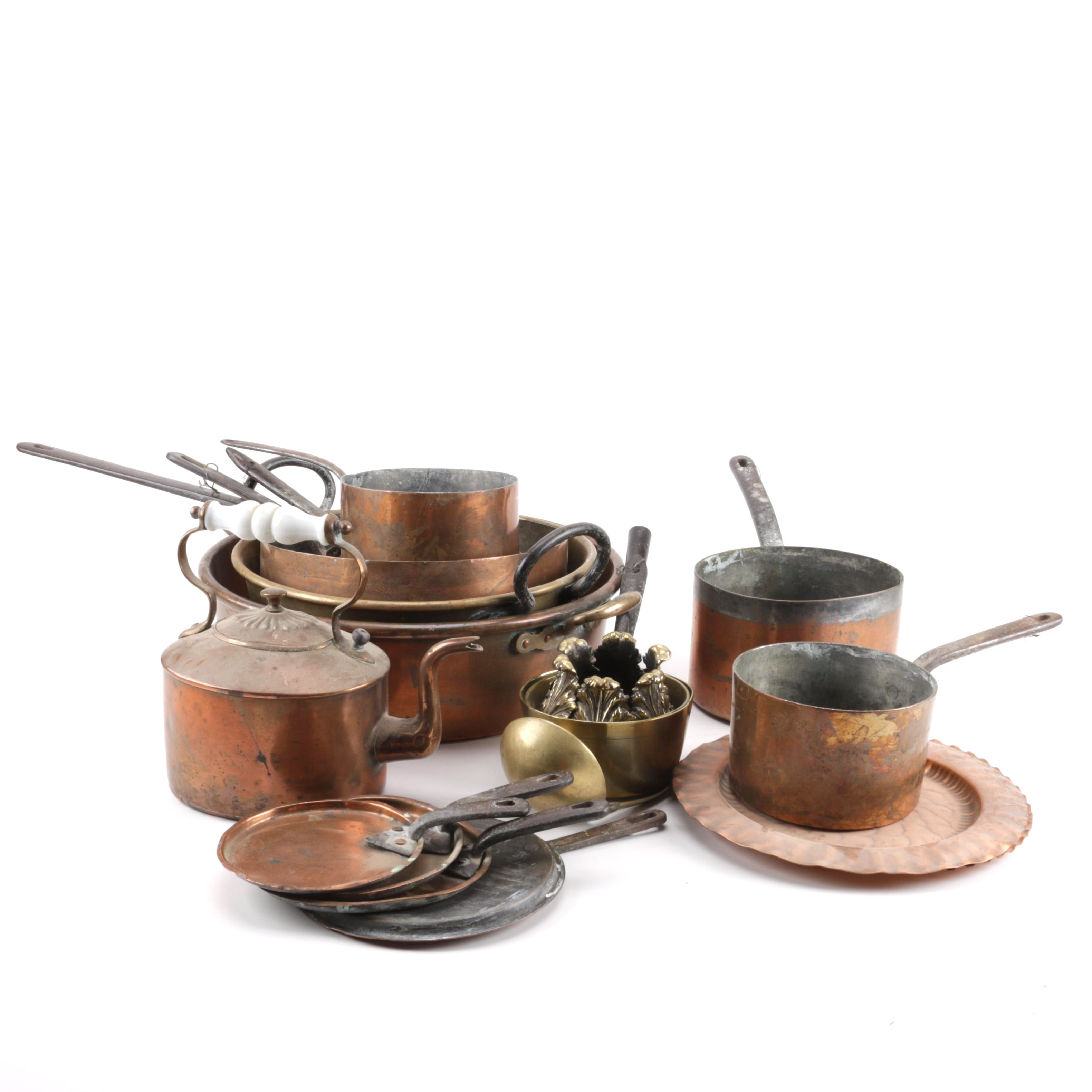 Vintage to Antique Copper and Brass Kitchenalia