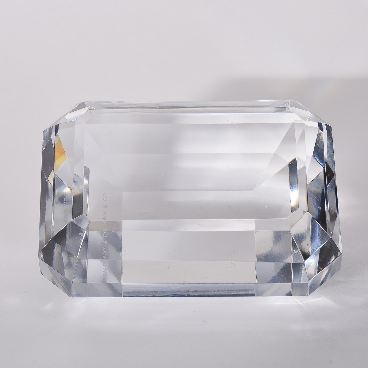 "Tiffany and Co. Crystal ""Emerald Cut"" Paperweight"