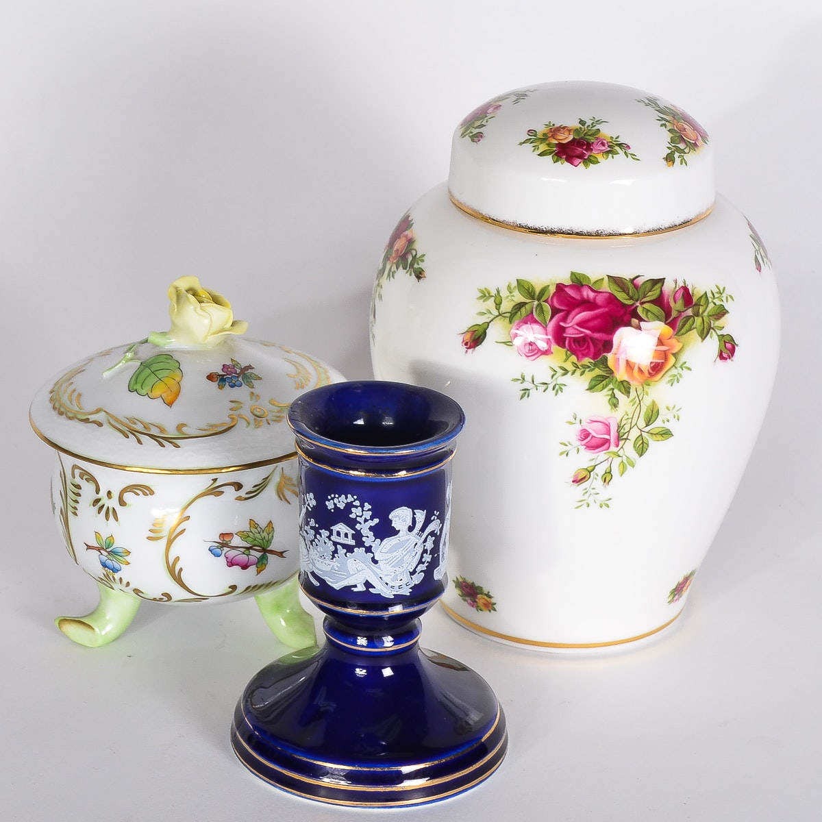 Collection of Porcelain Decorative Pieces including Royal Albert