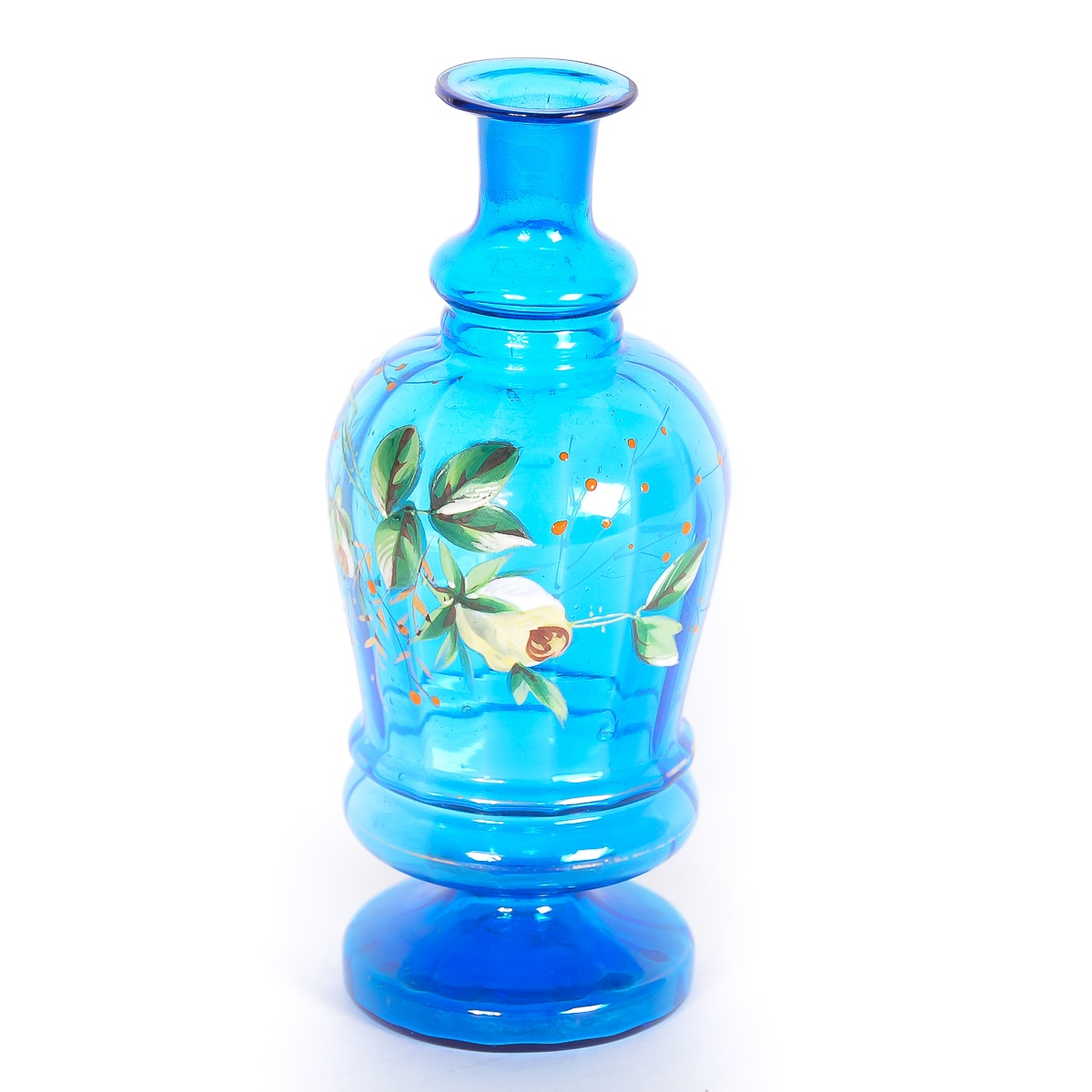 Antique Hand-Painted Blue Glass Vase