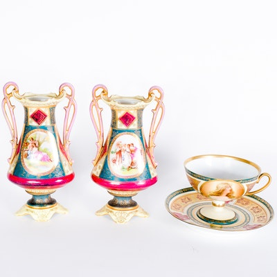 Collection of Antique Hand-Painted Austrian Porcelain