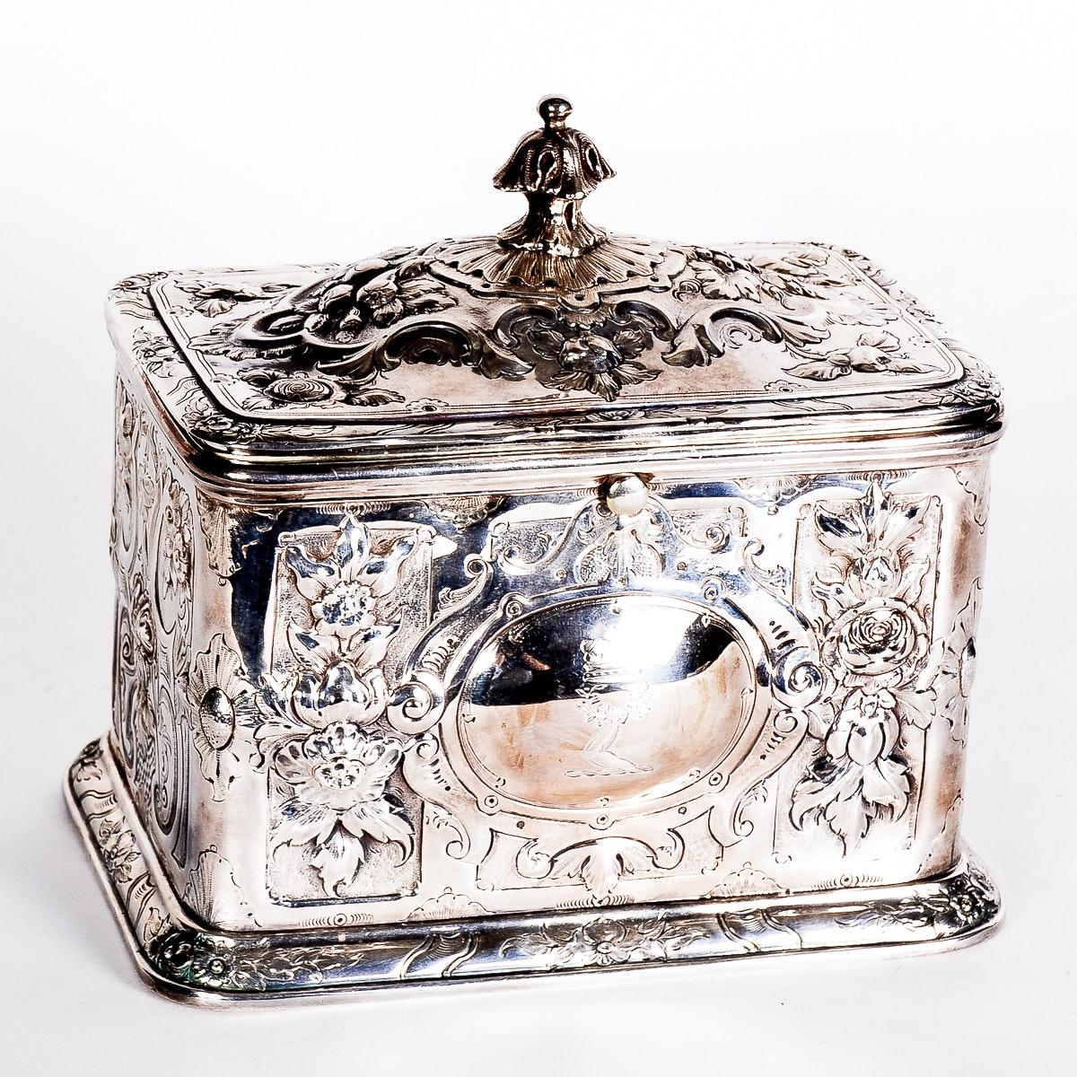 Antique English Silver Plate Repousse Trinket Box