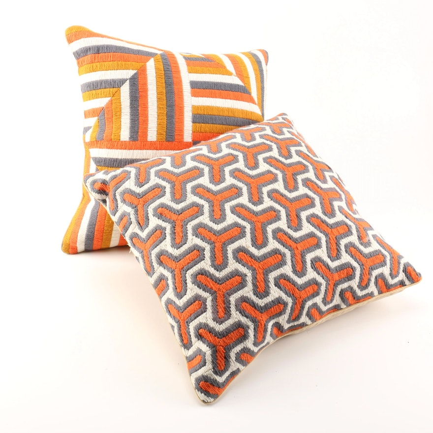 Orange And White Decorative Pillows : Jonathan Adler Orange, White, and Black Throw Pillows : EBTH