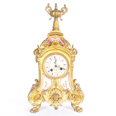 Phillipe Mourey French Gilt Mantel Clock with Sèvres Style Panels