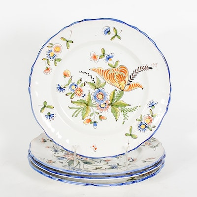 Vintage Handpainted Earthenware Majolica Dinner Plates