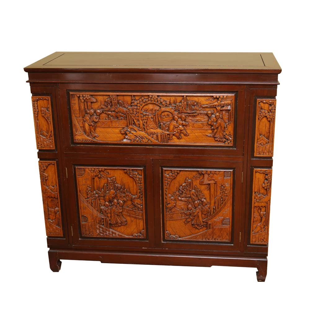 Asian Style Relief Carved Wet Bar Cabinet ...