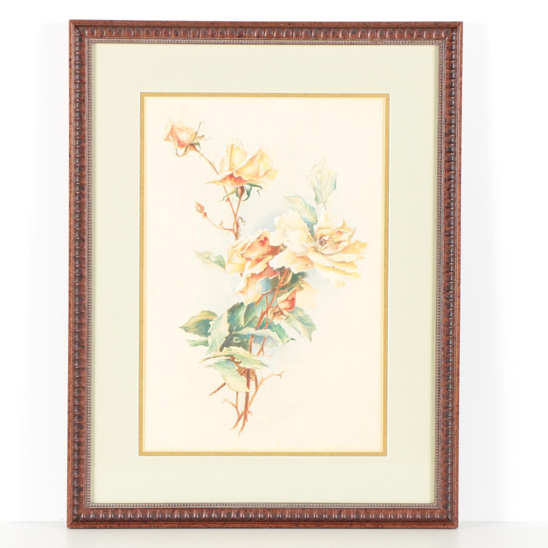 A. D. Armstrong Watercolor on Paper of Flowers