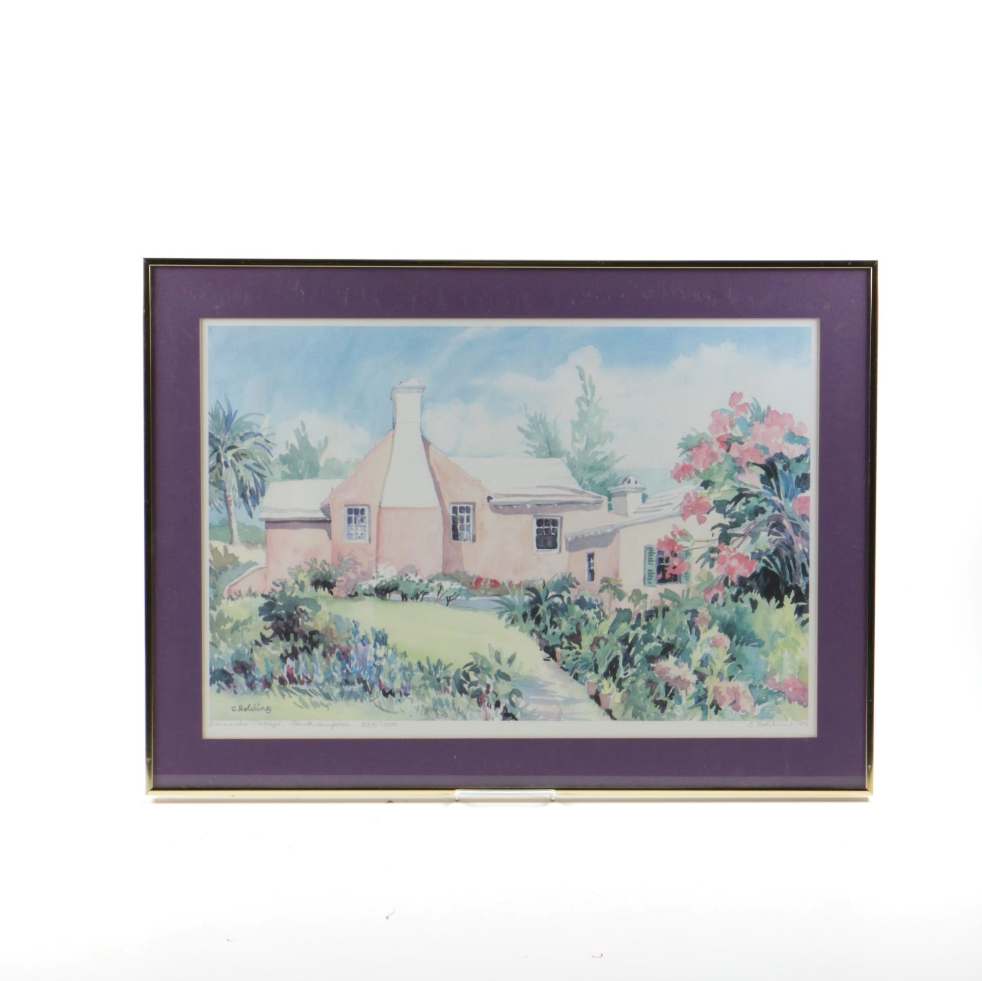 """Carole Holding Limited Edition Offset Lithograph """"Bermuda Cottage, Southampton"""""""