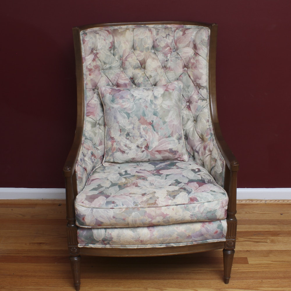 Sheraton Style High Back Floral Armchair