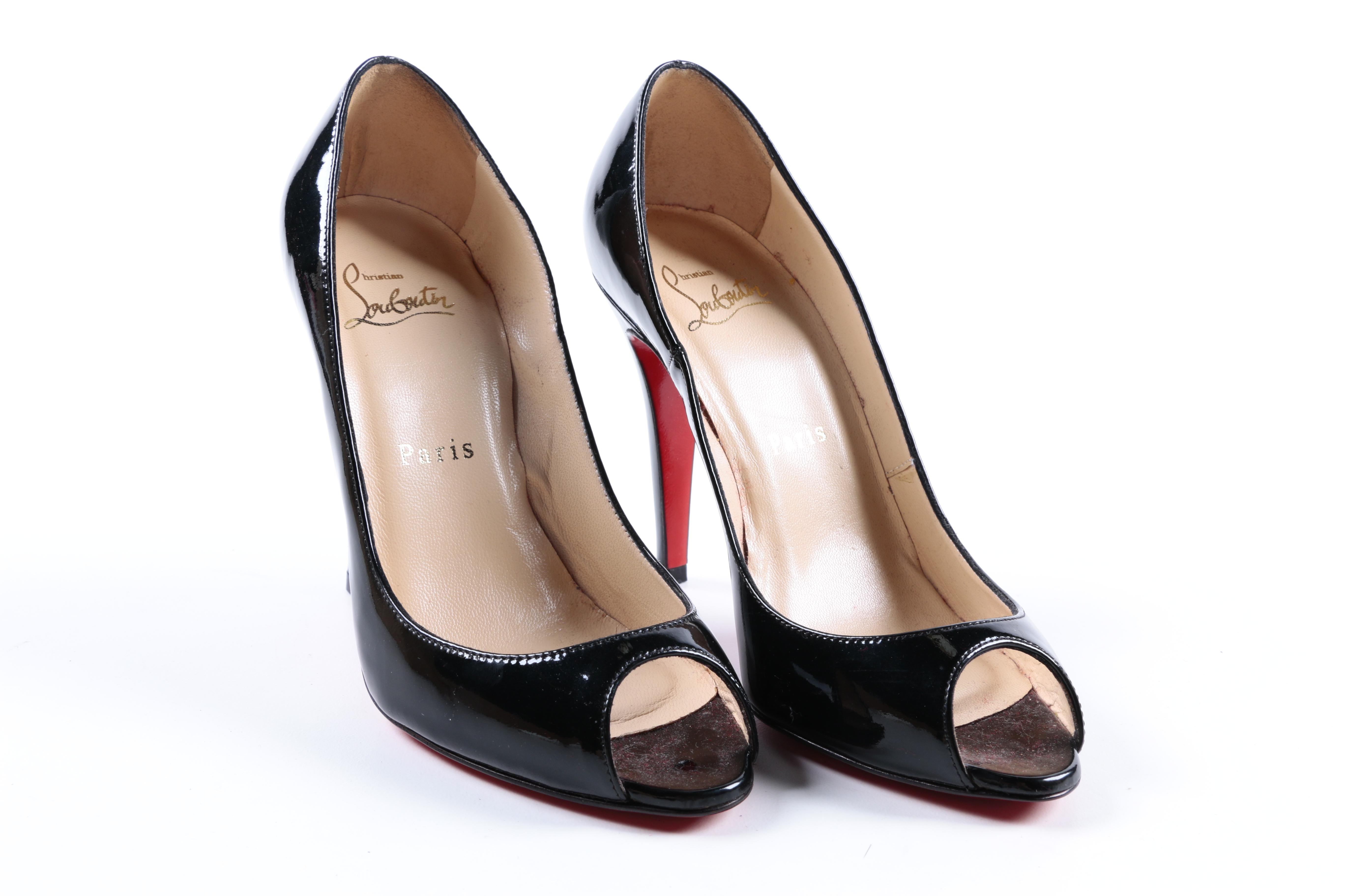 Christian Louboutin Patent Leather Peep Toe Pumps