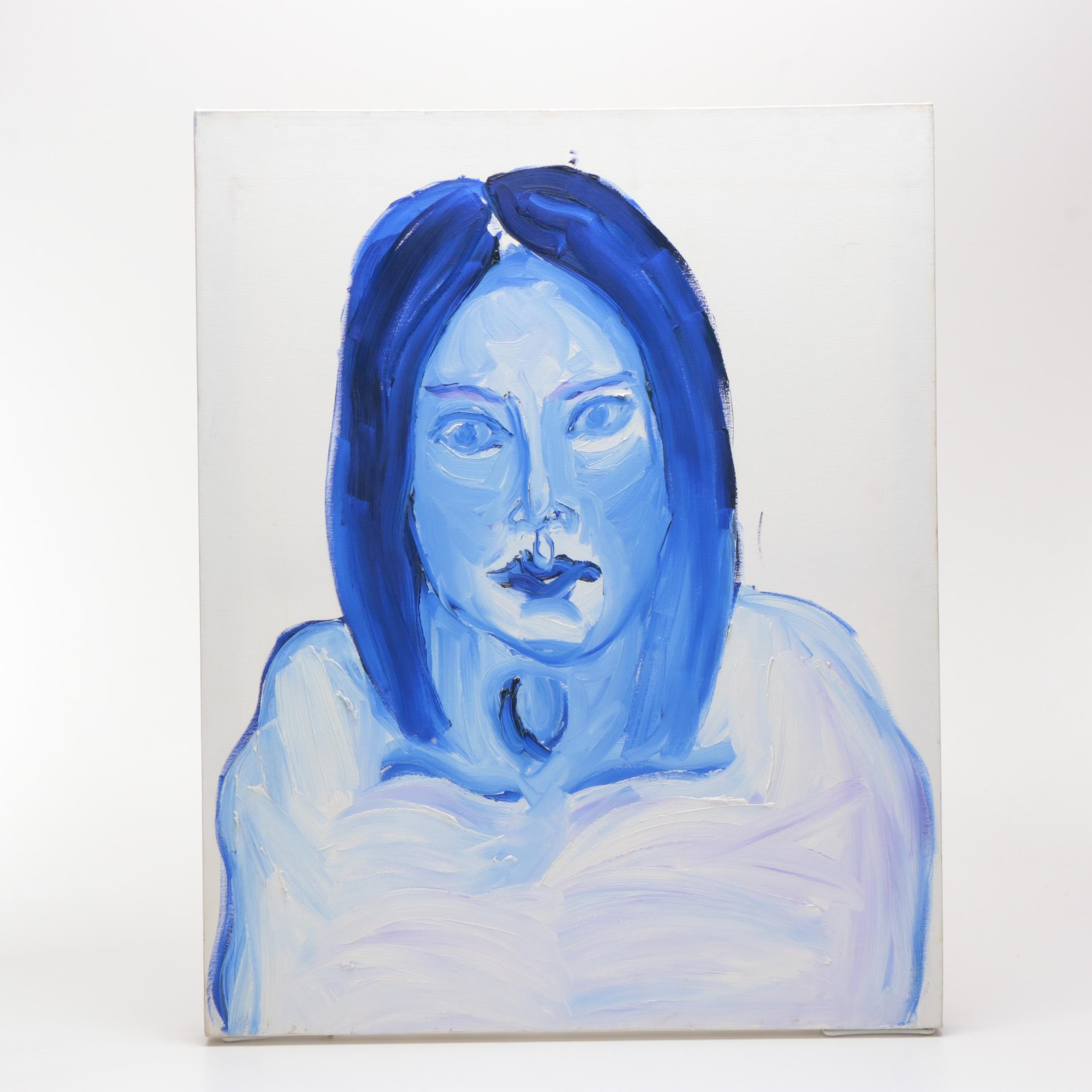 Oil Painting on Canvas of Woman in Blue