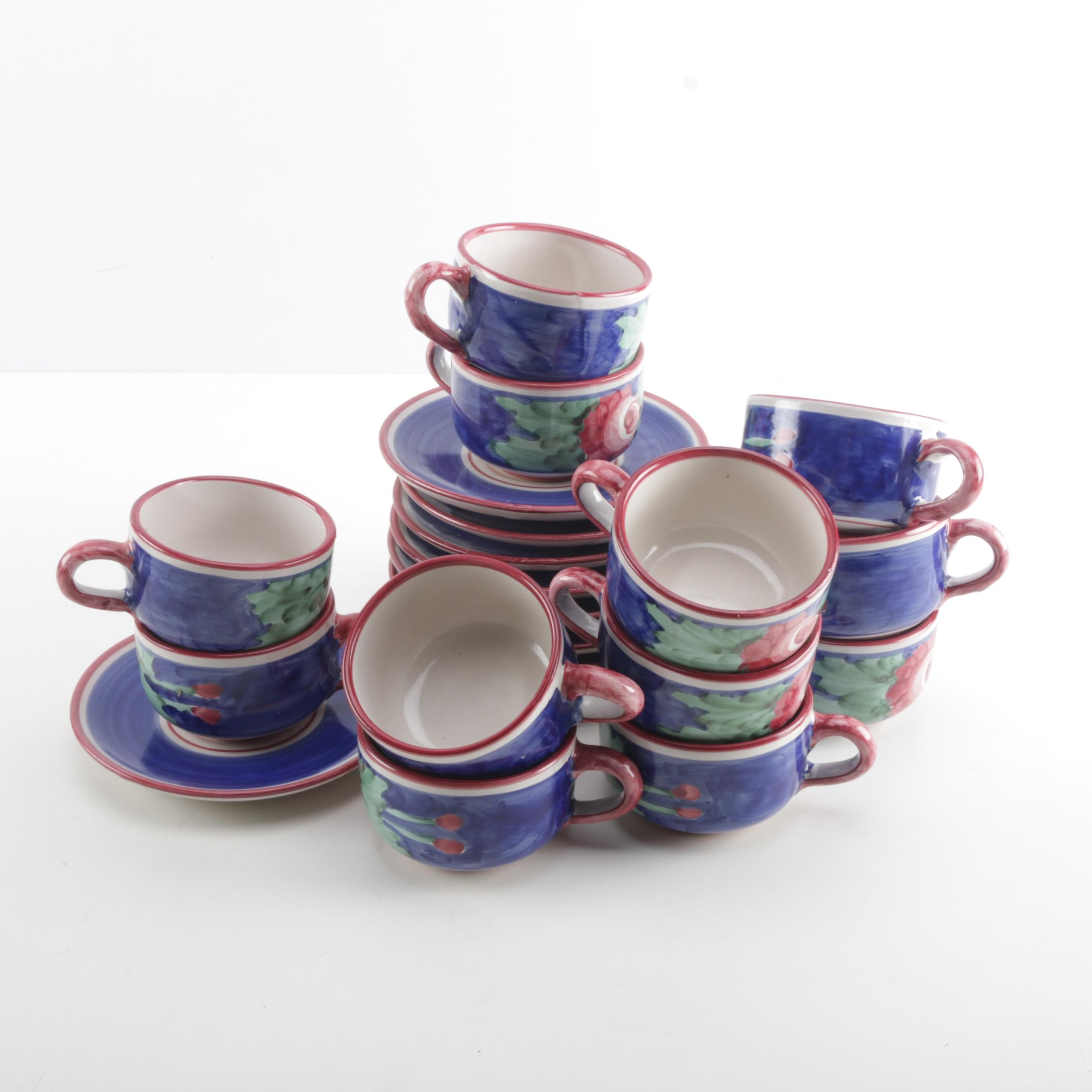 Hand-Painted Vietri Solimene Cups and Saucers ...  sc 1 st  EBTH.com & Hand-Painted Vietri Solimene Cups and Saucers : EBTH