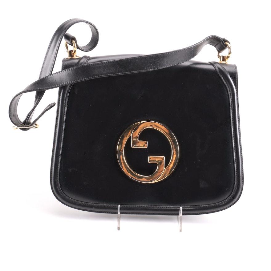 50a38857b76 Vintage Gucci Black Leather Flap Shoulder Bag   EBTH