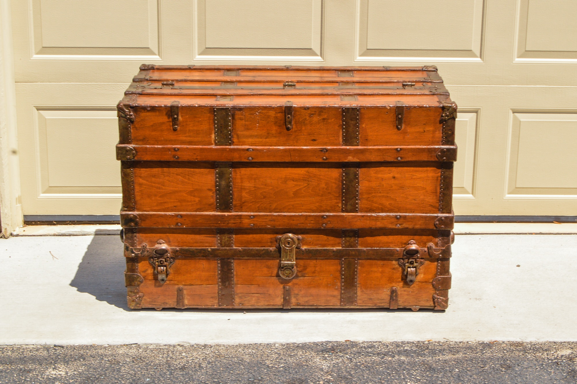 Antique Straight Back Dresser Style Steamer Trunk, Circa Late 19th C